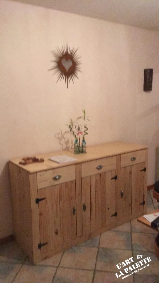 buffets, meubles : buffet en pin et palettes - l'art et la palette